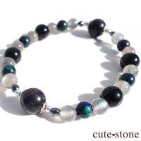 【Cosmo bracelet】ブラックマトリックスオパール アズライト ラブラドライト ブラックネフライト ヘマタイト ブレスレットの画像