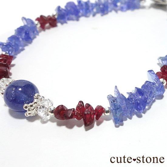 【蒼に満ちる】タンザナイト レッドスピネル 水晶を使ったブレスレットの写真1 cute stone