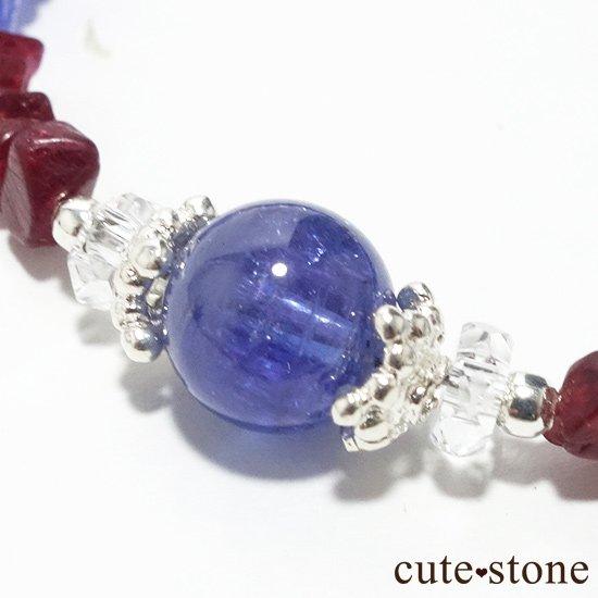 【蒼に満ちる】タンザナイト レッドスピネル 水晶を使ったブレスレットの写真2 cute stone