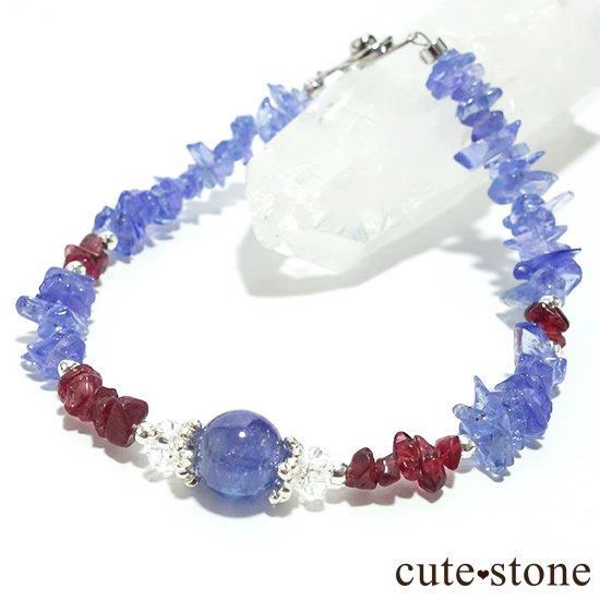 【蒼に満ちる】タンザナイト レッドスピネル 水晶を使ったブレスレットの写真4 cute stone