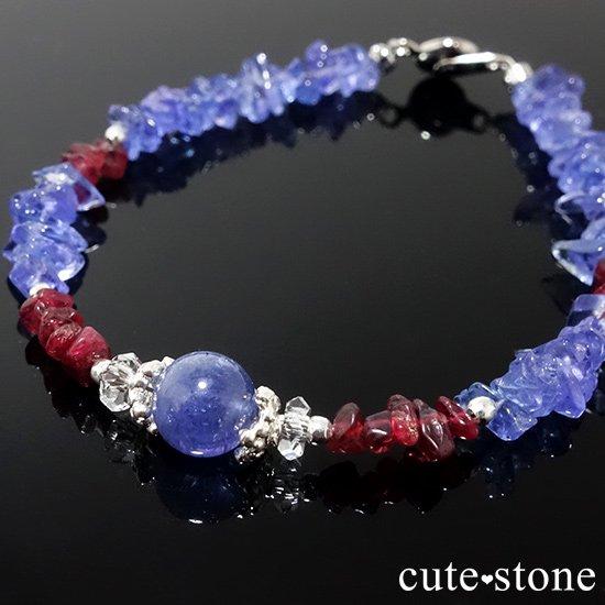 【蒼に満ちる】タンザナイト レッドスピネル 水晶を使ったブレスレットの写真5 cute stone