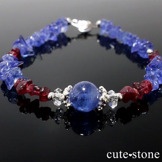 【蒼に満ちる】タンザナイト レッドスピネル 水晶を使ったブレスレットの写真6 cute stone