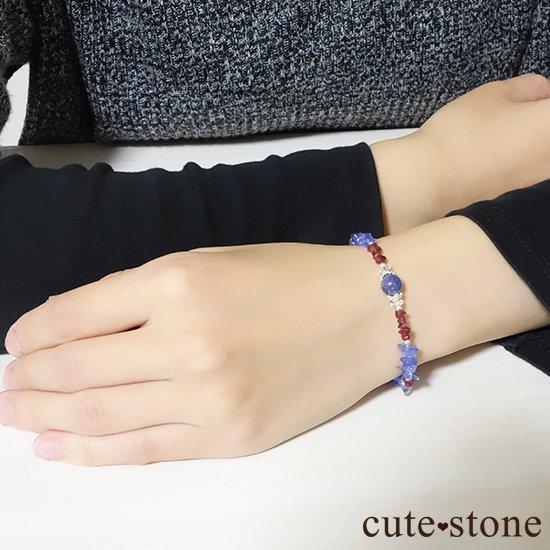 【蒼に満ちる】タンザナイト レッドスピネル 水晶を使ったブレスレットの写真7 cute stone