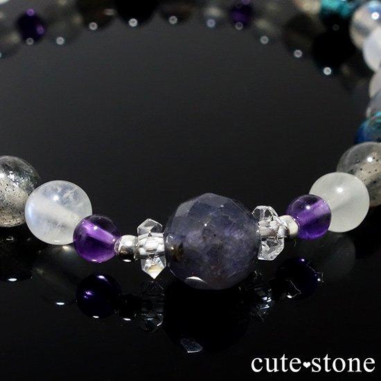 【夜空のささめき】アイオライト アメジスト ブルームーンストーン ラブラドライト クリソコラ 水晶のブレスレットの写真2 cute stone