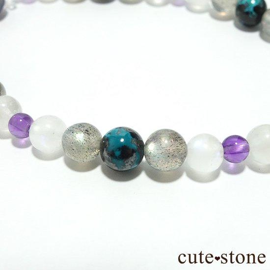 【夜空のささめき】アイオライト アメジスト ブルームーンストーン ラブラドライト クリソコラ 水晶のブレスレットの写真5 cute stone