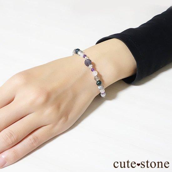 【夜空のささめき】アイオライト アメジスト ブルームーンストーン ラブラドライト クリソコラ 水晶のブレスレットの写真6 cute stone