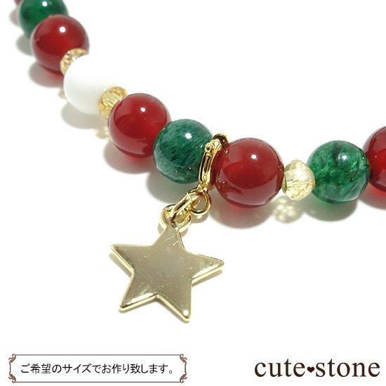 【Merry Christmas♪】グリーンアベンチュリン  シトリン レッドアゲート ホワイトシェルのブレスレットの写真1 cute stone
