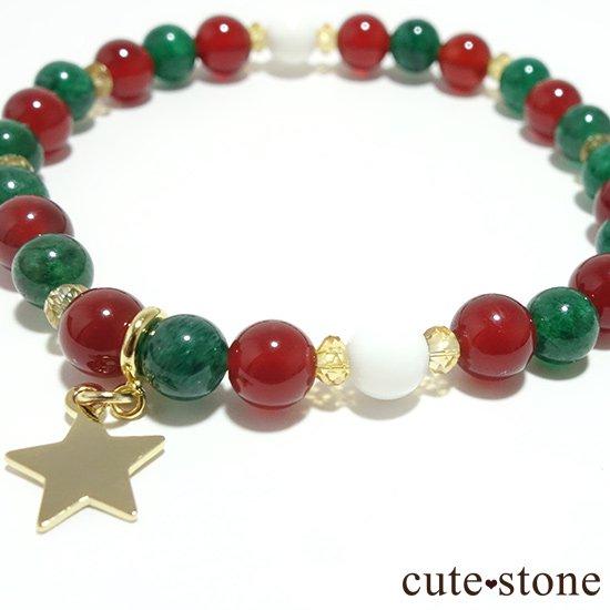 【Merry Christmas♪】グリーンアベンチュリン  シトリン レッドアゲート ホワイトシェルのブレスレットの写真2 cute stone