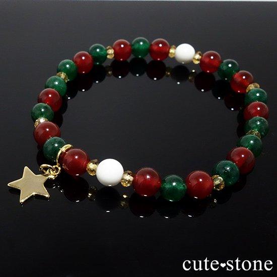 【Merry Christmas♪】グリーンアベンチュリン  シトリン レッドアゲート ホワイトシェルのブレスレットの写真4 cute stone