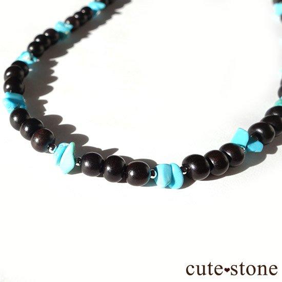 【古来の御守り】ターコイズ(スリーピングビューティー) 黒檀のネックレスの写真0 cute stone