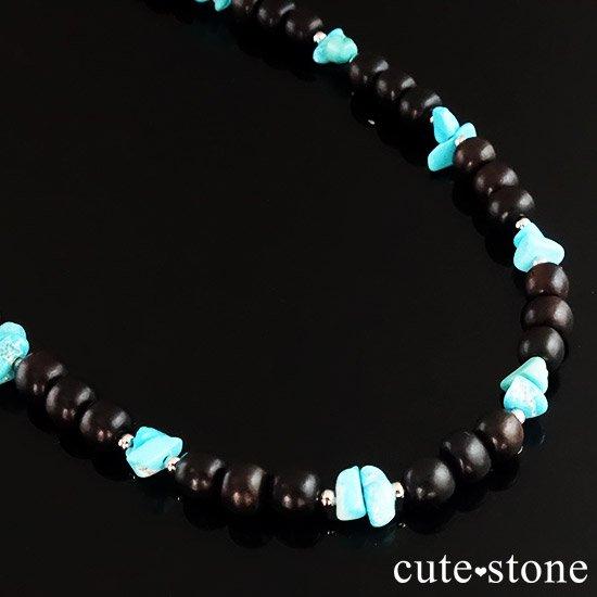 【古来の御守り】ターコイズ(スリーピングビューティー) 黒檀のネックレスの写真3 cute stone