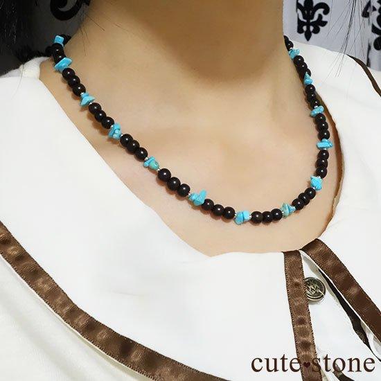 【古来の御守り】ターコイズ(スリーピングビューティー) 黒檀のネックレスの写真4 cute stone