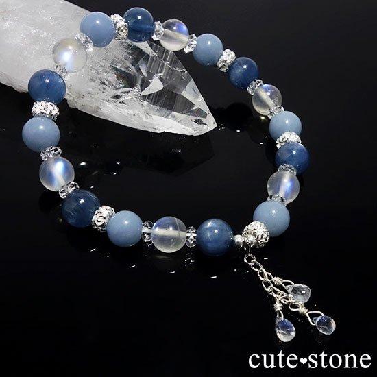 【Snow Angel】ブルームーンストーン カイヤナイト レインボームーンストーン エンジェライト 水晶のブレスレットの写真2 cute stone