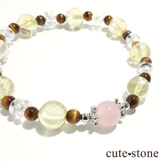 【秋景色に舞う花】ディープローズクォーツ タイガーアイ シトリン 水晶のブレスレットの写真0 cute stone