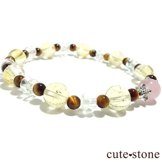 【秋景色に舞う花】ディープローズクォーツ タイガーアイ シトリン 水晶のブレスレットの写真2 cute stone