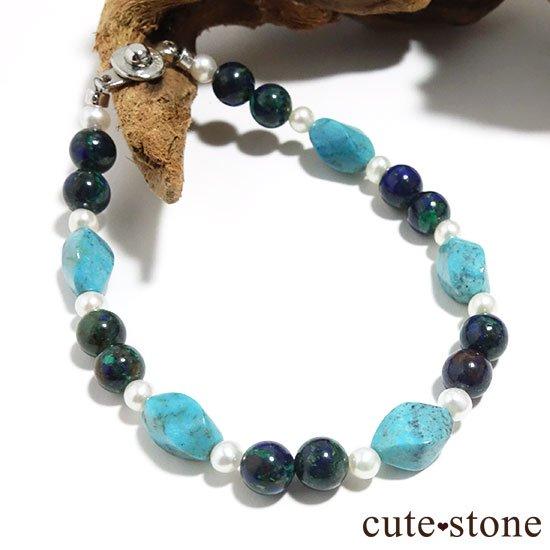 【Treasure of Mermaid】ターコイズ アズライト 淡水真珠のブレスレット