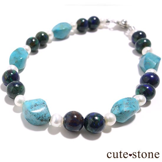 【Treasure of Mermaid】ターコイズ アズライト 淡水真珠のブレスレットの写真0 cute stone