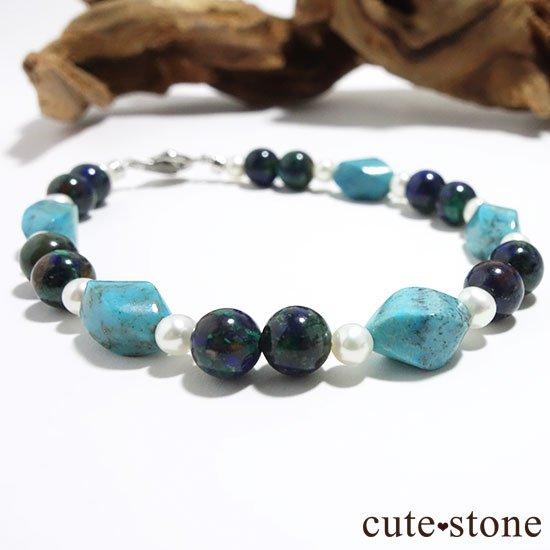 【Treasure of Mermaid】ターコイズ アズライト 淡水真珠のブレスレットの写真2 cute stone