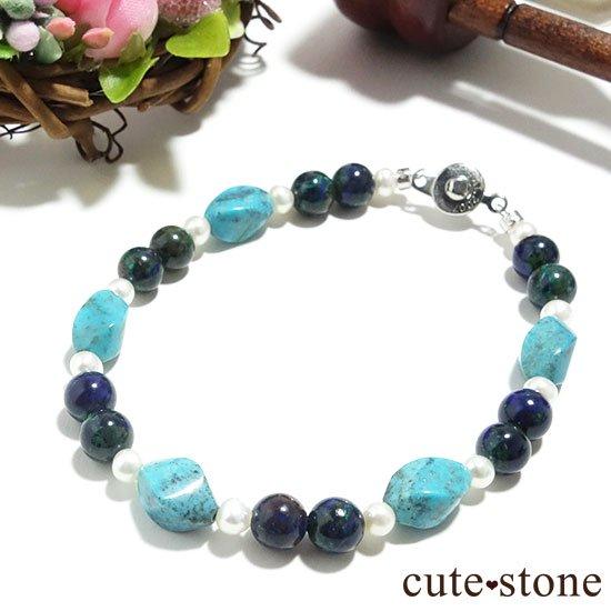 【Treasure of Mermaid】ターコイズ アズライト 淡水真珠のブレスレットの写真3 cute stone