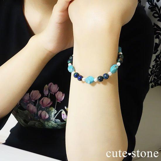 【Treasure of Mermaid】ターコイズ アズライト 淡水真珠のブレスレットの写真4 cute stone