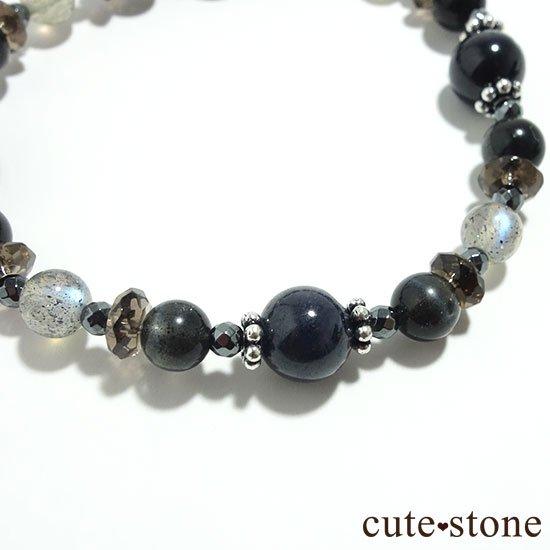 【Cosmo bracelet】ブラックルチルクォーツ ブラックスキャポライト サファイア ラブラドライトのブレスレットの写真1 cute stone
