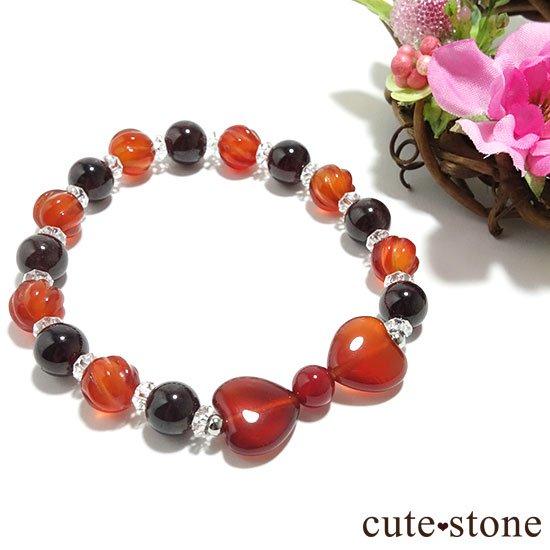 【Red ribbon】レッドアゲート カーネリアン ガーネット 水晶のブレスレットの写真0 cute stone