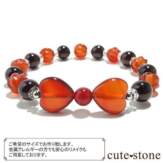 【Red ribbon】レッドアゲート カーネリアン ガーネット 水晶のブレスレットの写真1 cute stone