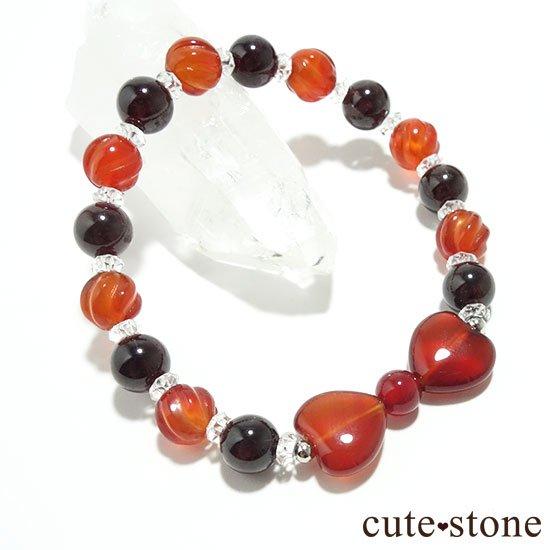 【Red ribbon】レッドアゲート カーネリアン ガーネット 水晶のブレスレットの写真3 cute stone