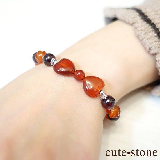【Red ribbon】レッドアゲート カーネリアン ガーネット 水晶のブレスレットの写真5 cute stone