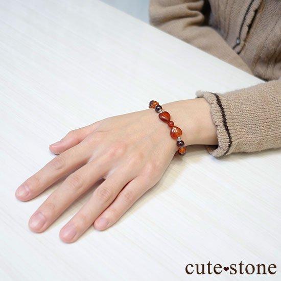 【Red ribbon】レッドアゲート カーネリアン ガーネット 水晶のブレスレットの写真6 cute stone