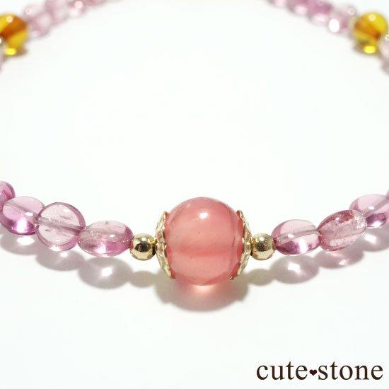 【Le Spectre de la Rose】インカローズ(ロードクロサイト) ピンクトルマリン アンバーのブレスレットの写真1 cute stone