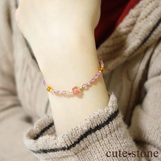 【Le Spectre de la Rose】インカローズ(ロードクロサイト) ピンクトルマリン アンバーのブレスレットの写真5 cute stone