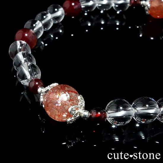 【山脈に昇る太陽】サンストーン アイスクリスタル レッドアメジスト ガーネットのブレスレットの写真4 cute stone