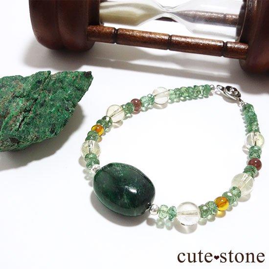 【緑色の銀河】モーシッシ シトリン アンバー レッドスキャポライト グリーンアパタイトのブレスレット