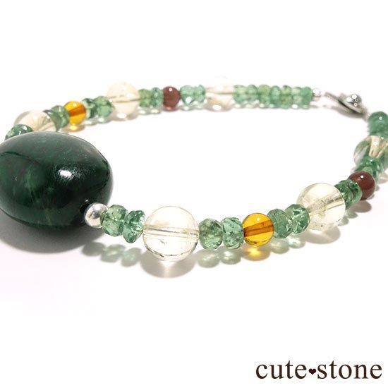 【緑色の銀河】モーシッシ シトリン アンバー レッドスキャポライト グリーンアパタイトのブレスレットの写真0 cute stone