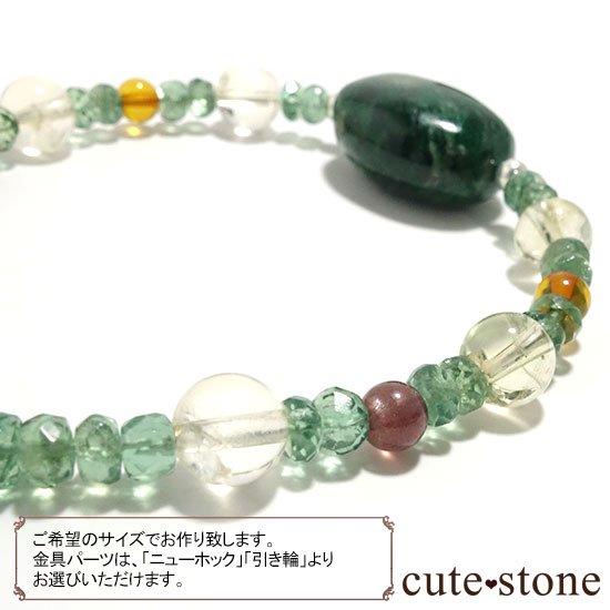 【緑色の銀河】モーシッシ シトリン アンバー レッドスキャポライト グリーンアパタイトのブレスレットの写真1 cute stone