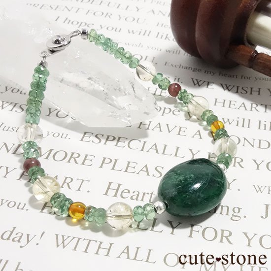 【緑色の銀河】モーシッシ シトリン アンバー レッドスキャポライト グリーンアパタイトのブレスレットの写真2 cute stone