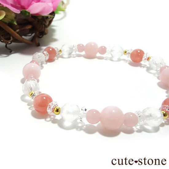 【Special Love】インカローズ ピンクオパール ミルキークォーツ グァバクォーツ 水晶のブレスレットの写真0 cute stone