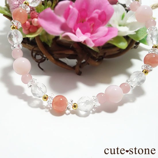 【Special Love】インカローズ ピンクオパール ミルキークォーツ グァバクォーツ 水晶のブレスレットの写真4 cute stone