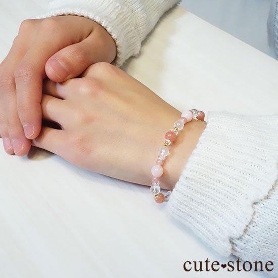 【Special Love】インカローズ ピンクオパール ミルキークォーツ グァバクォーツ 水晶のブレスレットの写真6 cute stone