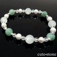 【Actias aliena】エメラルド ホワイトムーンストーン 淡水真珠 水晶のブレスレットの画像