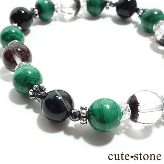 【孔雀と大地】 マラカイト ガーデンクォーツ オニキス のブレスレットの写真0 cute stone