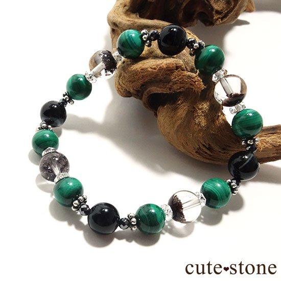 【孔雀と大地】 マラカイト ガーデンクォーツ オニキス のブレスレットの写真1 cute stone
