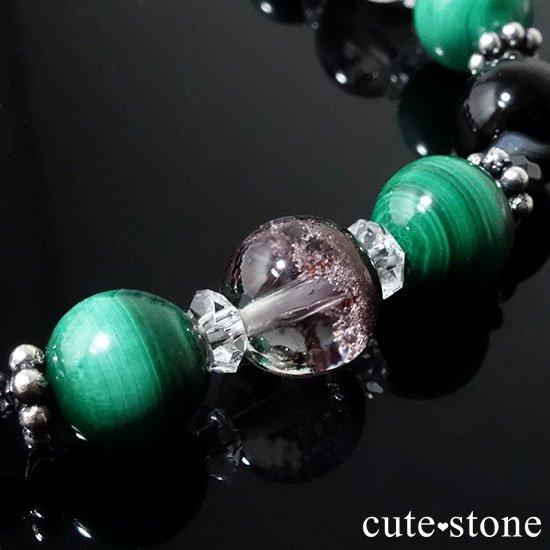 【孔雀と大地】 マラカイト ガーデンクォーツ オニキス のブレスレットの写真4 cute stone