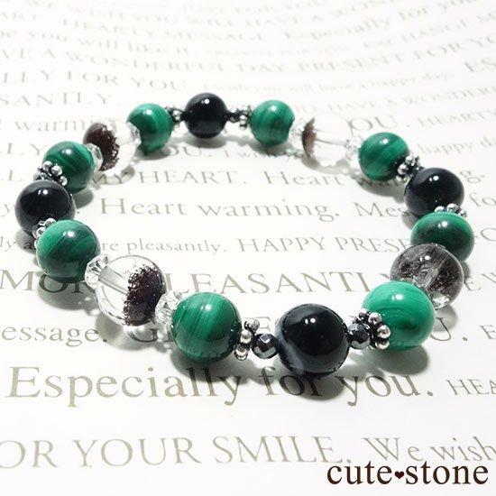 【孔雀と大地】 マラカイト ガーデンクォーツ オニキス のブレスレットの写真5 cute stone