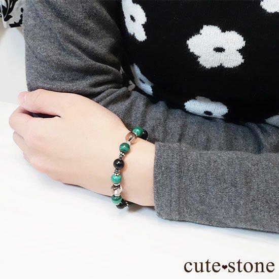 【孔雀と大地】 マラカイト ガーデンクォーツ オニキス のブレスレットの写真6 cute stone