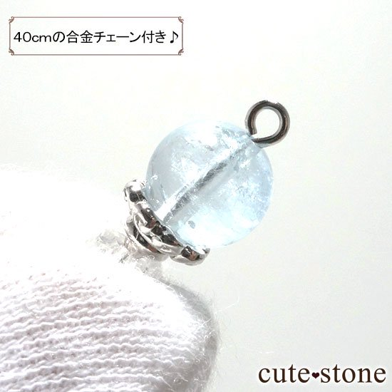 【Birthday Necklace 3月】 アクアマリンと水晶で作った誕生石ネックレスの写真3 cute stone
