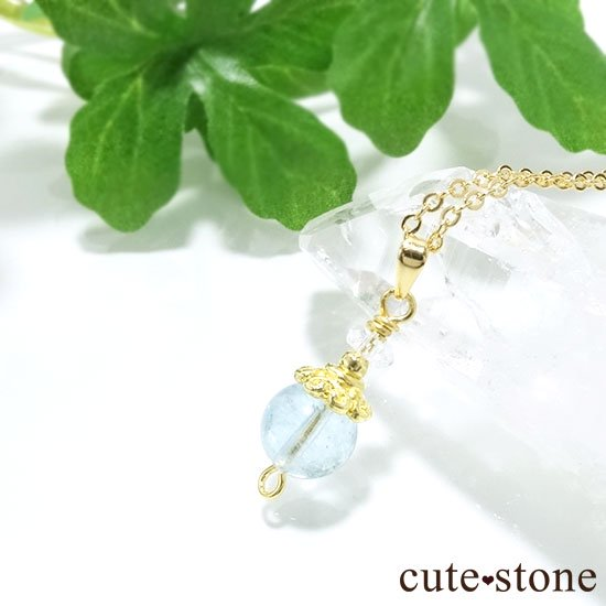 【Birthday Necklace 3月】 アクアマリンと水晶で作った誕生石ネックレスの写真4 cute stone