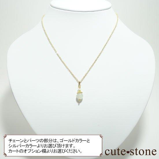 【Birthday Necklace 6月】 ホワイトムーンストーンと水晶で作った誕生石ネックレスの写真5 cute stone