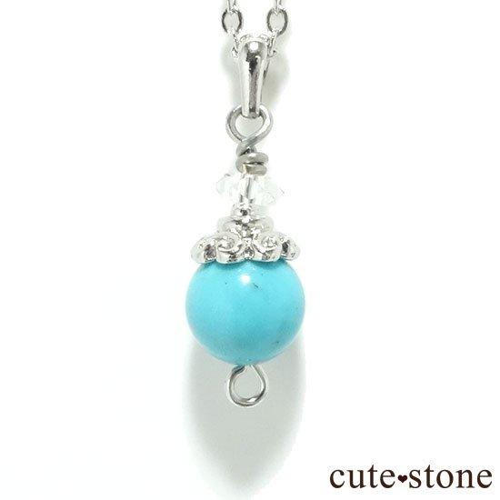 【Birthday Necklace 12月】 ターコイズ(トルコ石)と水晶で作った誕生石ネックレス